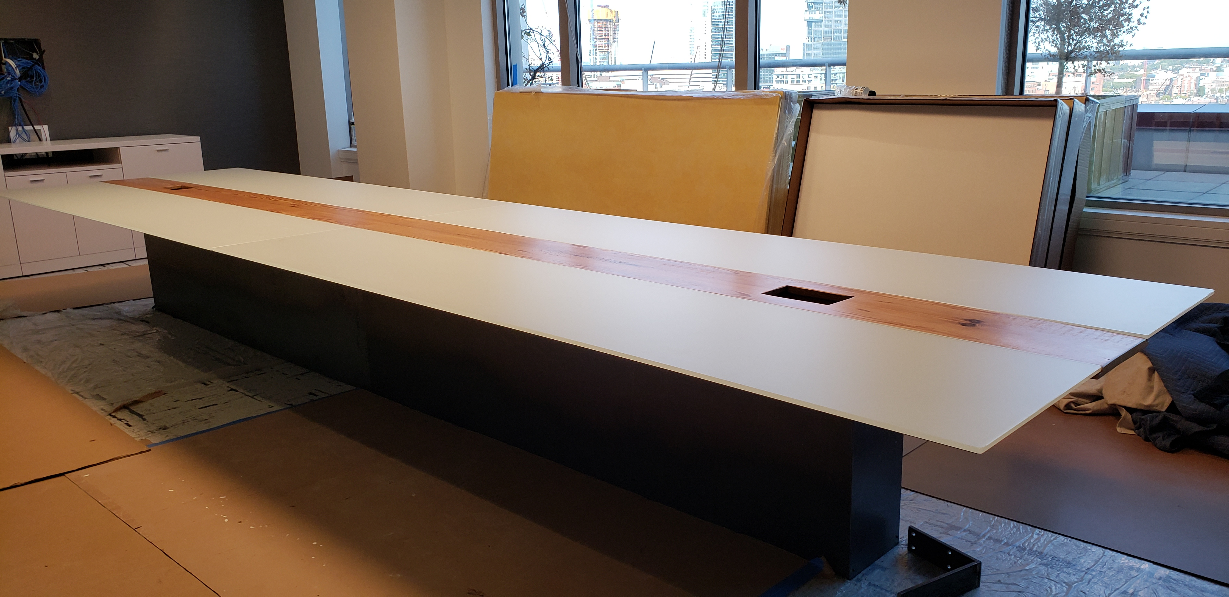 White glass table in a high-end conference room